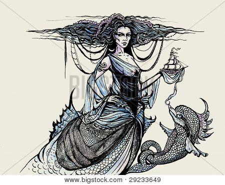 Gravura com a deusa do mar e golfinho