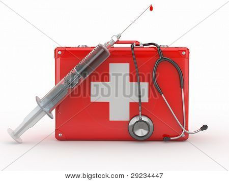 First aid kit, syringe and stethscope. 3d