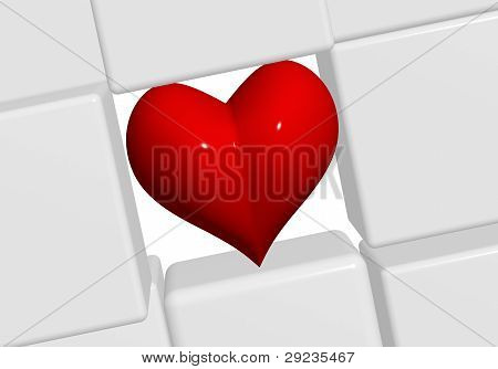 The Red Heart In Grey Cubes 2