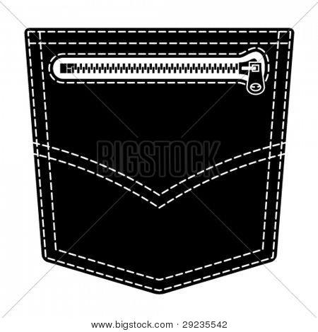 vector zipper jeans pocket black symbol