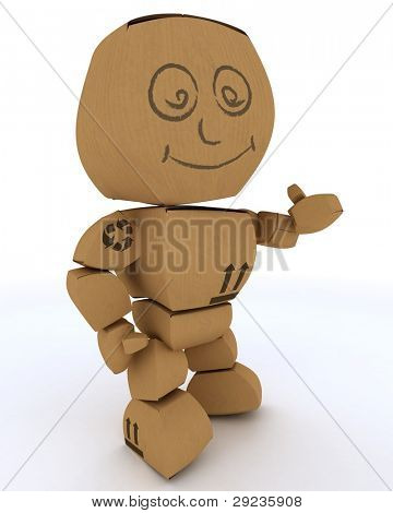 3D render of a Cardboard Box figure offering a handshake