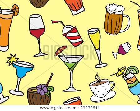 Drinks And Coctails - Colored Seamless Pattern And Background
