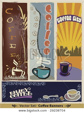 Vector Coffee Banner Set