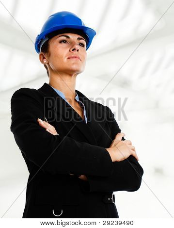 Portrait of a female engineer in a contruction site