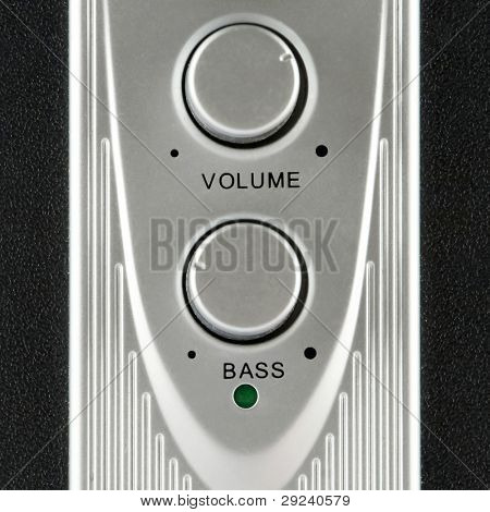 Volume and bass speaker controls closeup