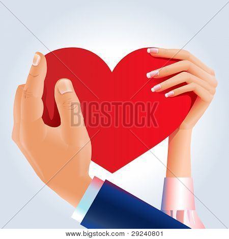Couple hands hold shared heart