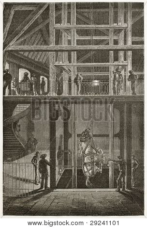 Lowering an horse into a cool mine, old illustration (Le Creusot, France). Created by Neuville after Bonhomme, published on Le Tour du Monde, Paris, 1867