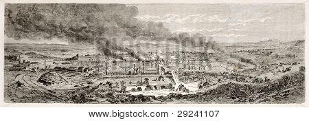 Le Creusot antiga visão, France1847. Criado por Lancelot depois Bonhomme, publicado em Le Tour du Monde,