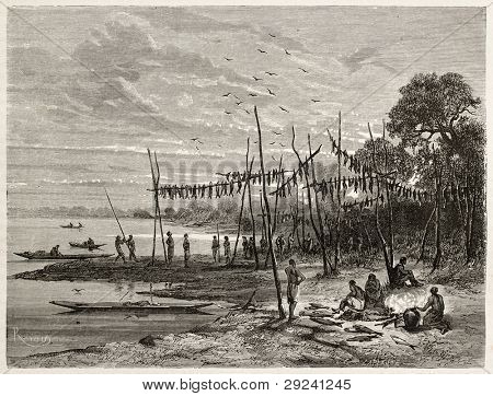 Amazon tribe fish drying on Codajas lake bank. Created by Riou, published on Le Tour du Monde, Paris, 1867