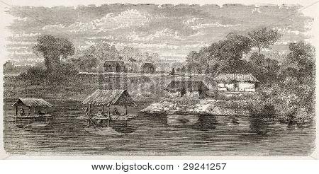 Tahua-Miri village on Coari lake bank old view, Brazil. Created by Riou, published on Le Tour du Monde, Paris, 1867