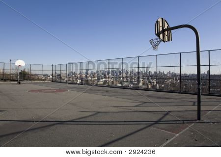Basketball Court With Manhattan Background
