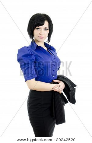 Portrait Of A Business Woman. Over White Background.
