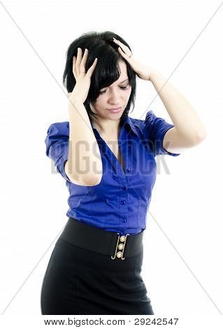 Portrait of stressed business woman. Isolated on white background