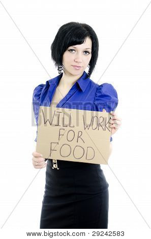 Unemployed Woman With Cardboard Will