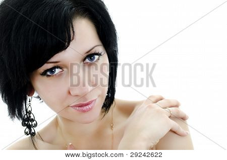 Close-up Portrait Of Brunette Woman, Isolated Over White Background