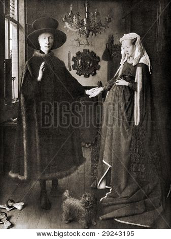 "Jan van Eyck ""The Arnolfini Portrait"". Reproduction from Encyclopedia ""Treasures of art"", Partnership «Prosvesheniye», Petersburg , Russia , 1906"