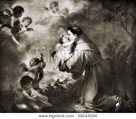 "Bartolomeo Esteban Murillo ""Saint Anthony Of Padua Adore Child"". Reproduction from Encyclopedia ""Treasures of art"", Partnership «Prosvesheniye», Petersburg , Russia , 1906"