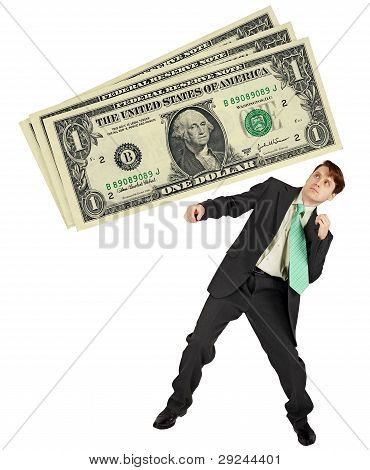 Man Dodges A Large Fine, Isolated On White Background