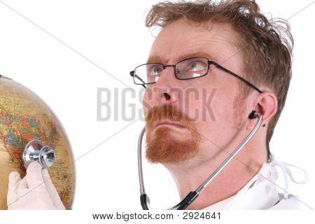 Funny Doctor Examine A Globe