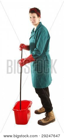 Housewife or domestic worker with mop and bucket