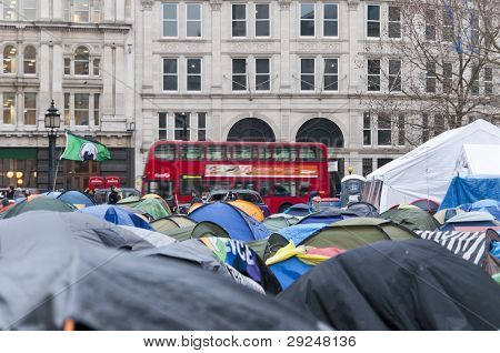 LONDON - JANUARY 11: Occupy London occupation in their 88th day. The protesters are set to be evicted soon. January 11, 2012 in London, England.