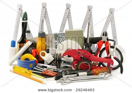 collection tools isolate on white background