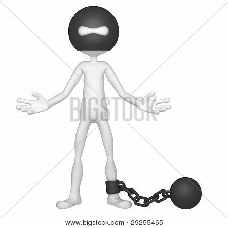 Prisoner Tied With Iron Ball