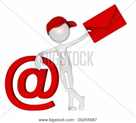 Postman With Envelope And E-mail Sign