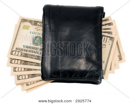 Black Leather Wallet With Ten Dollar Notes