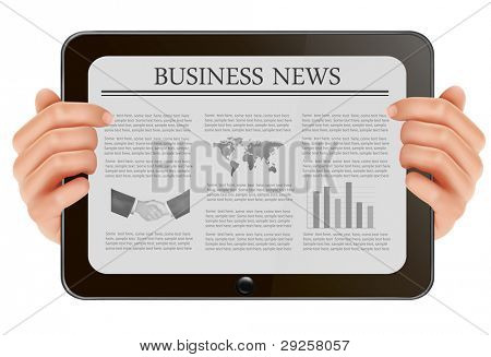 Two hands holding digital tablet pc with business news. Vector illustration