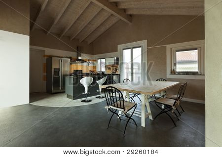 interior, new loft furnished, view of dining table and kitchen