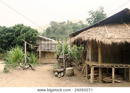 Poverty. Mud shack home in which a thai family have built and live in.