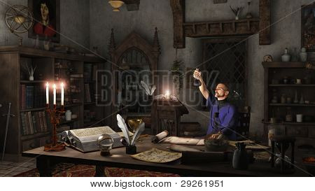 Alchemist in his Study
