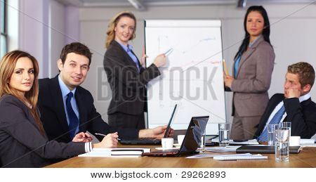 Two females standing and present graph on flipchart during business meeting, while three people sitting at conference table, focused on female on left