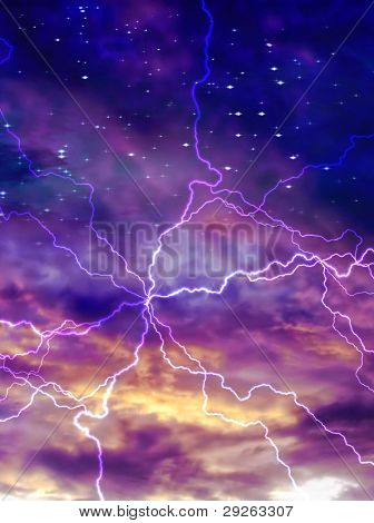 Colorful night sky with arc of electric