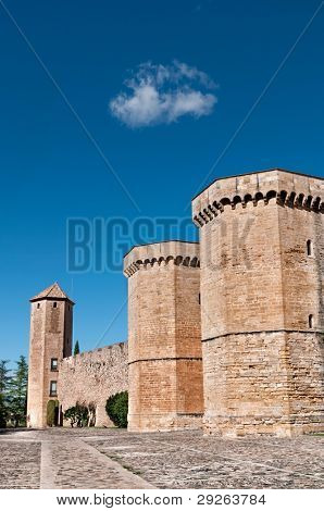 Fortified Wall in Front of Poblet Monastery, Tarragona Province, Catalonia, Spain