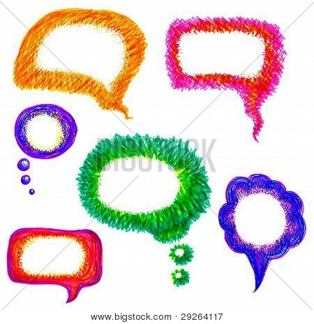 Colorful Hand-drawn Speech Bubble Vector Pack