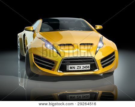 Yellow sports car on a black background. Non-branded car design.