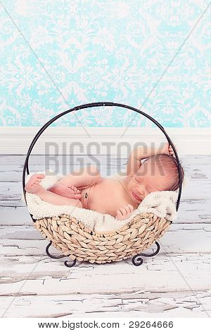 Cute newborn baby boy in Cute basket
