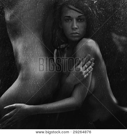 Portrait of a sexy women in the tender passion in back and white