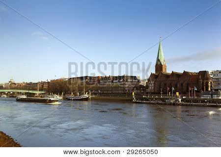 Cityscape of the Free and Hanseatic city of Bremen, with Weser river and Saint Martin church