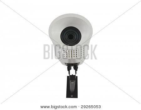 Vintage security camera isolated on white.