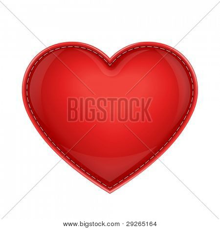red leather pillow as heart vector illustration isolated on white background EPS10. Transparent objects used for shadows and lights drawing