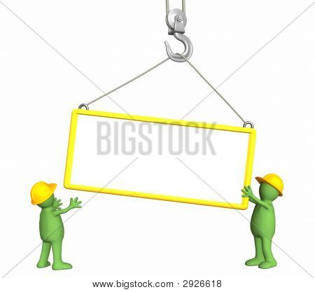 Builders - Puppets, Lowering A Frame On A Hook