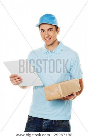 A messenger delivered by courier parcel. Shipping and logistics.
