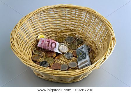 A donation basket for collection. Monetary donation ?