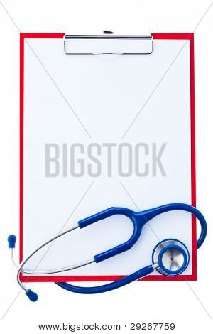 A clipboard with paper labels and a stethoscope. Survey findings with a doctor.