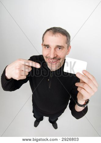 Funny Man With Card