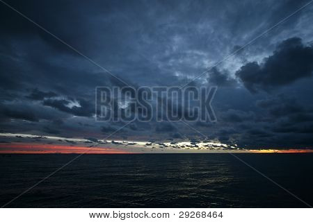 cloudy sunset over great barrier reef
