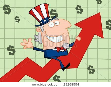 Waving Uncle Sam Riding A Growth Arrow